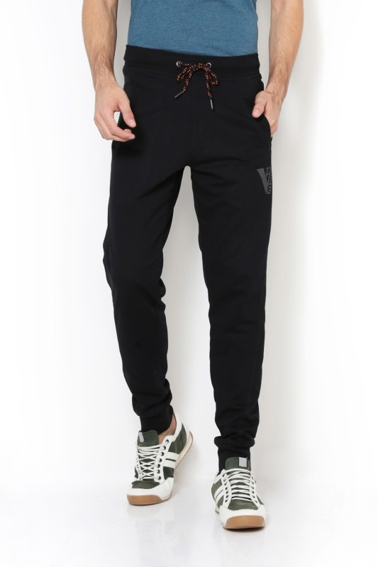 Van Heusen Solid Men Black Track Pants