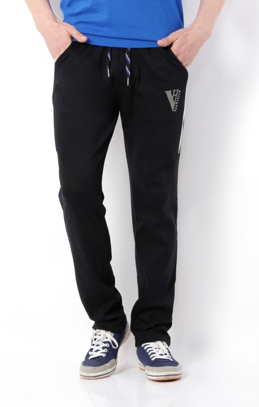 Van Heusen Solid Mens Black Track Pants