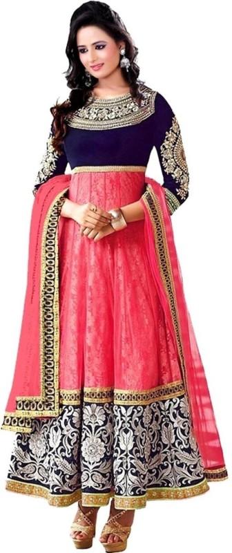 M.G.fashionhub Velvet Embroidered Semi-stitched Salwar Suit Dupatta Material