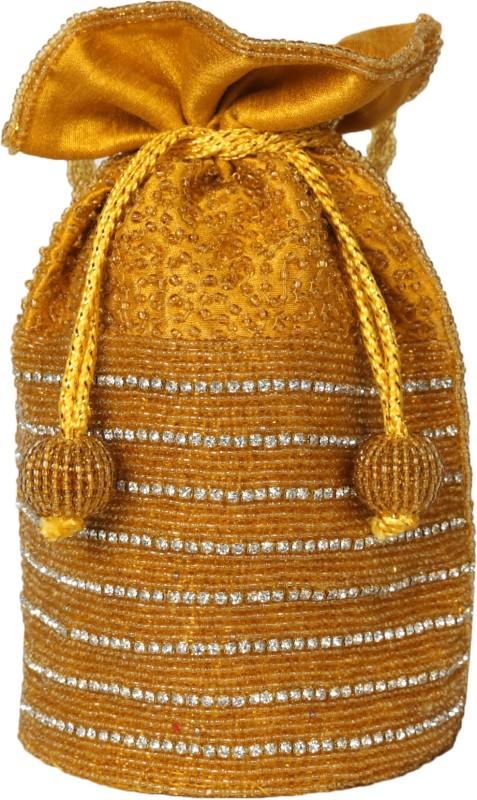 Ahankara Handcrafted Dimonte Potli Pouch Potli(Yellow)