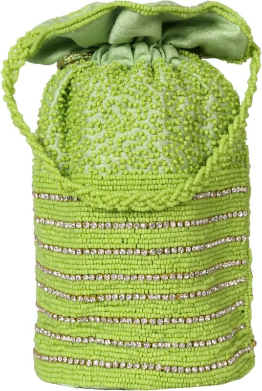 Ahankara Handcrafted Dimonte Potli Pouch Potli(Green)
