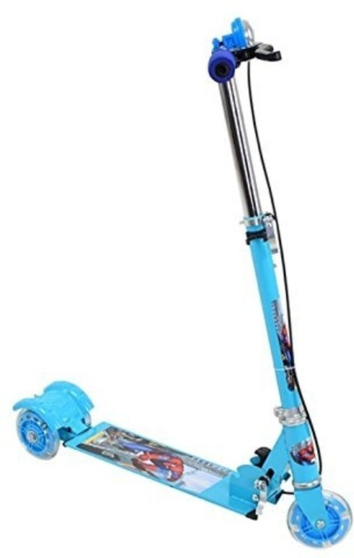 SAJ Three Wheeled Height Adjustable Scooter with Wheel Lights and Anti Slip Foot Grip, Blue Beautiful Scooter(Blue)