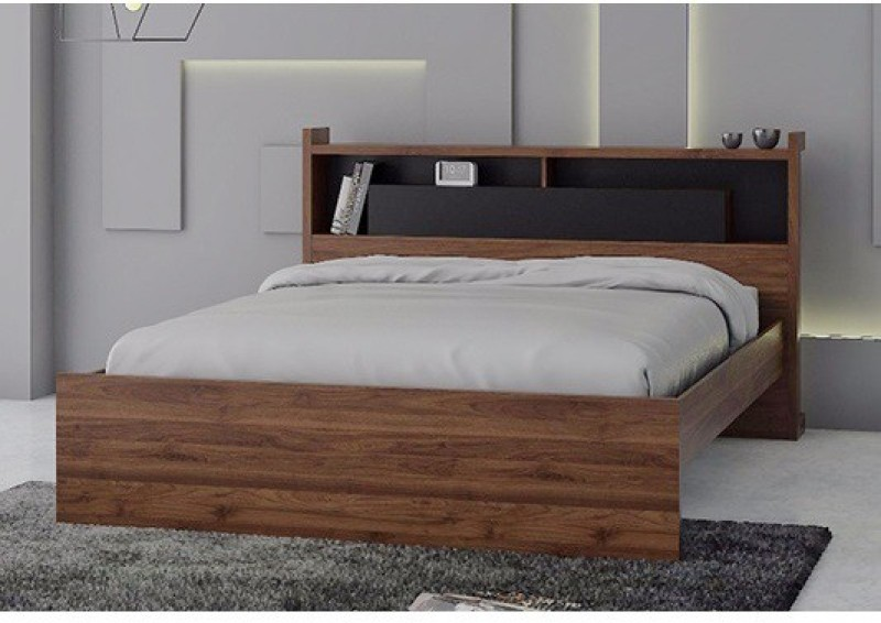 RoyalOak Milan Engineered Wood Queen Bed With Storage(Finish Color - Walnut Brown)