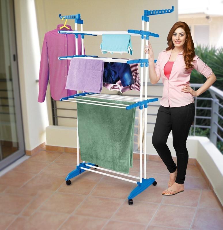 HOUZIE Carbon Steel Floor Cloth Dryer Stand(White)
