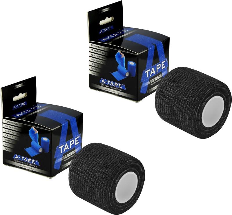 A-TAPE Cohesive Crepe Bandage Black (Reusable & Waterproof, 5 cm X 4.5 Mtr) Self Adhesive Crepe Bandage