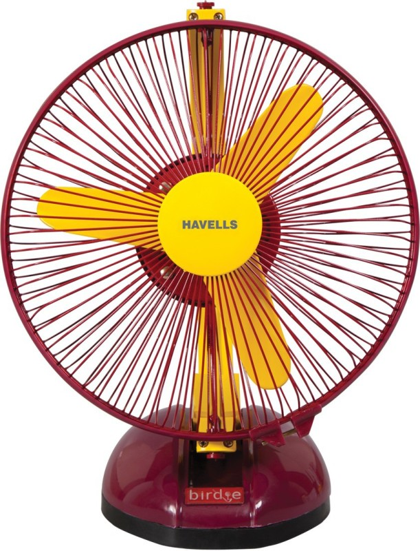 Havells 230 MM BIRDIE PERSONAL YELLOW MR FAN 3 Blade Table Fan(Yellow Maroon)