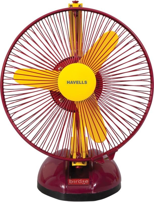 Havells 230 MM BIRDIE PERSONAL YELLOW MR FAN 3 Blade Table Fan(Yellow Maroon)
