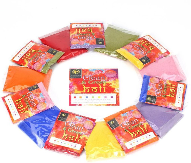 Green Practices Organic Holi Color Powder Pack of 7(Red, Blue, Orange, Yellow, Purple, Green, Pink, 700 g)