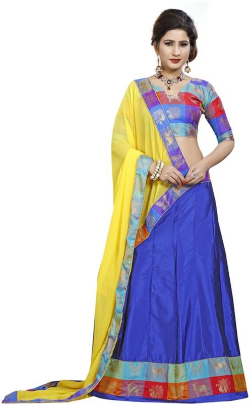 Greenvilla Designs Embellished Unstitched Ghagra, Choli, Dupatta Set(Multicolor)
