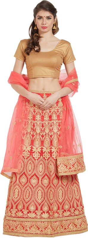 Palak Sarees Embellished Unstitched Lehenga, Choli and Dupatta Set(Red)