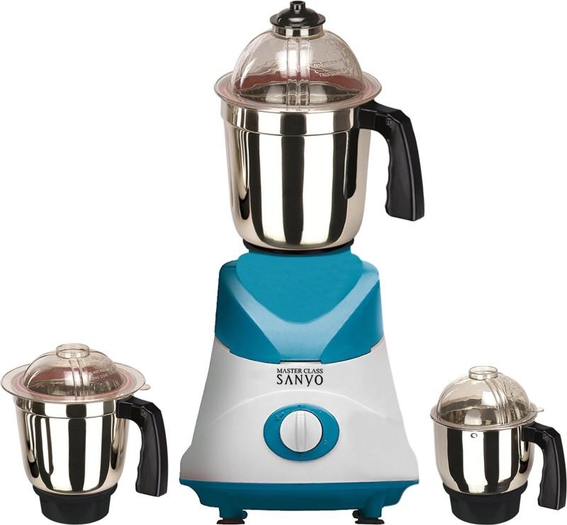 MasterClass Sanyo MG TA FEB 18 MG18 TA 75 ( 1 Large Jar, 1 Medium Jar and 1 Chuntey Jar ) 1000 W Mixer Grinder(White, Blue, 3 Jars)