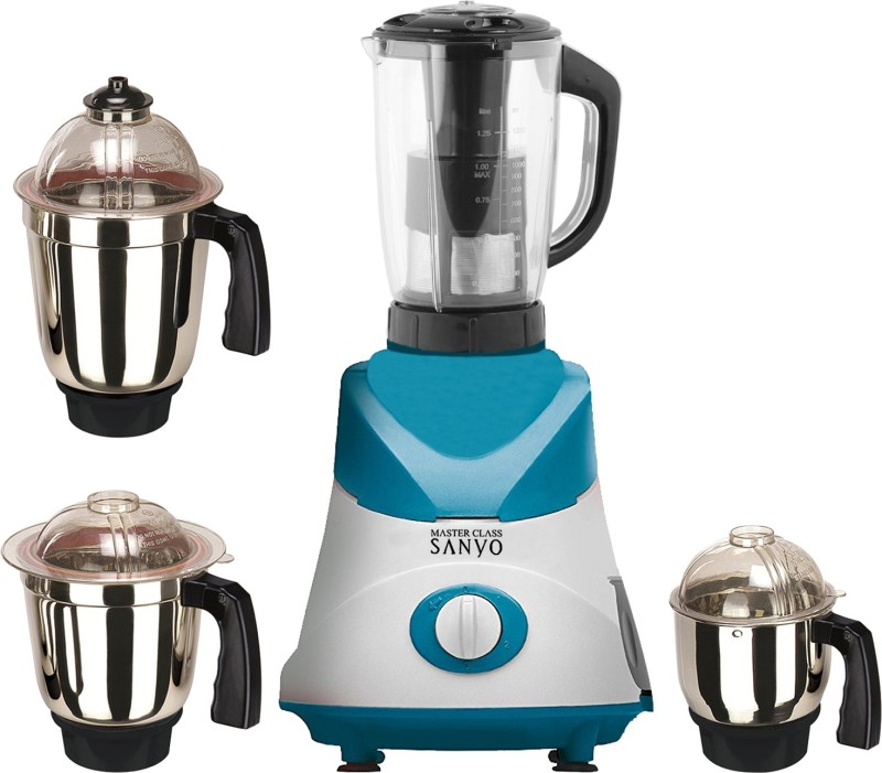 MasterClass Sanyo MG TA FEB 18 MG18 TA 86 (1 Juicer Jar with filter, 1 Large Jar, 1 Medium Jar and 1 Chuntey Jar ) 550 W Juicer Mixer Grinder(White, Blue, 4 Jars)