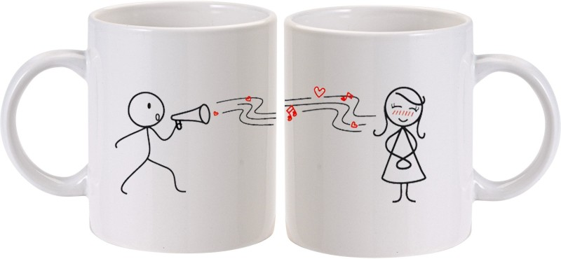 MUGkin For Couple Ceramic Mug(325 ml, Pack of 2)