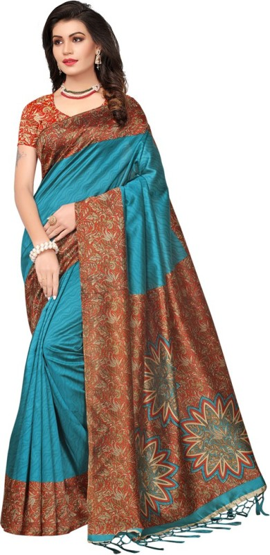 Saara Solid, Floral Print, Printed Daily Wear Poly Silk Saree(Blue, Multicolor)
