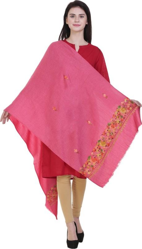 KASHMINA Wool Embroidered Women's Shawl(Pink)