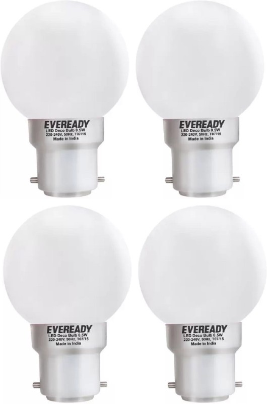 Eveready 0.5 W Round B22 LED Bulb(White, Pack of 4)