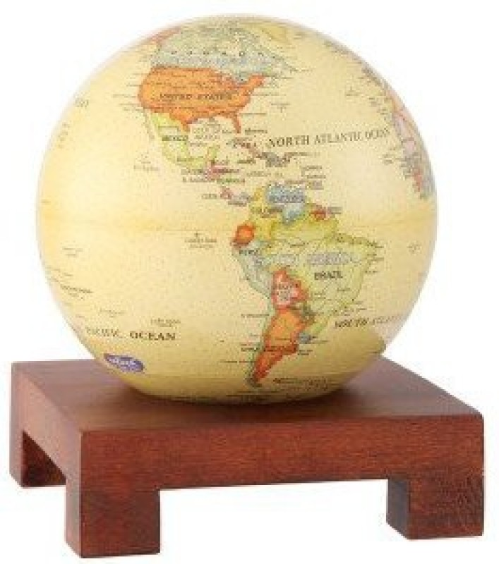 """Generic 4.5"""" Antique Beige Mova Globe With Square Base In Natural Wood(Multicolor)"""