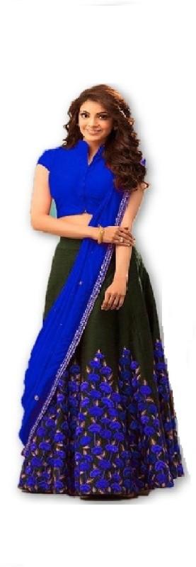 color bucket Embroidered Semi Stitched Lehenga, Choli and Dupatta Set(Blue)