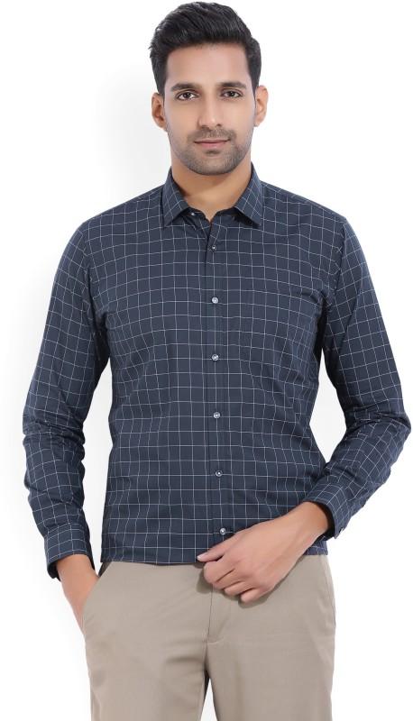 Van Heusen Mens Checkered Casual Dark Blue Shirt