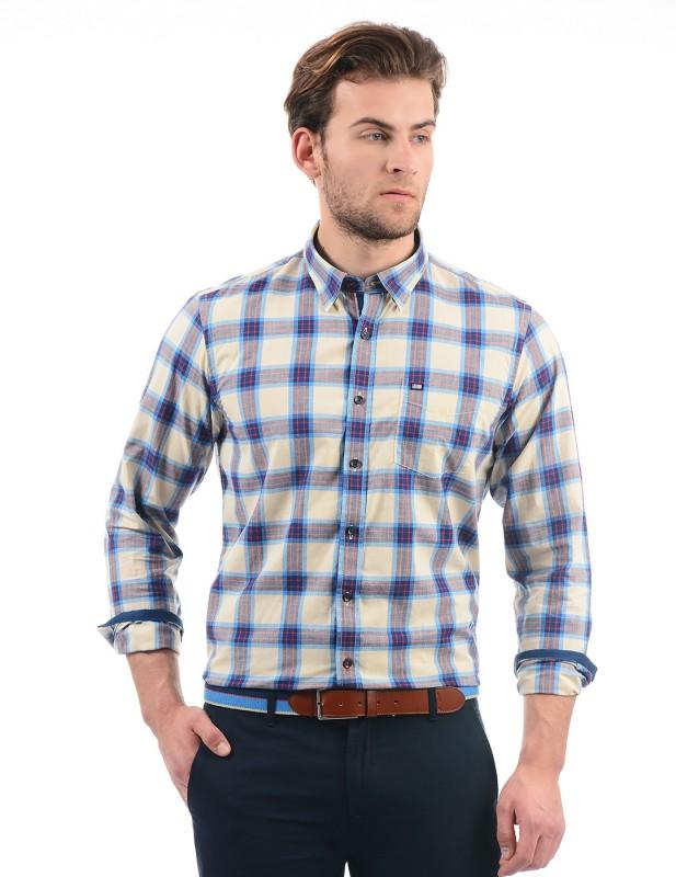 Arrow Sport Men Checkered Casual Beige Shirt