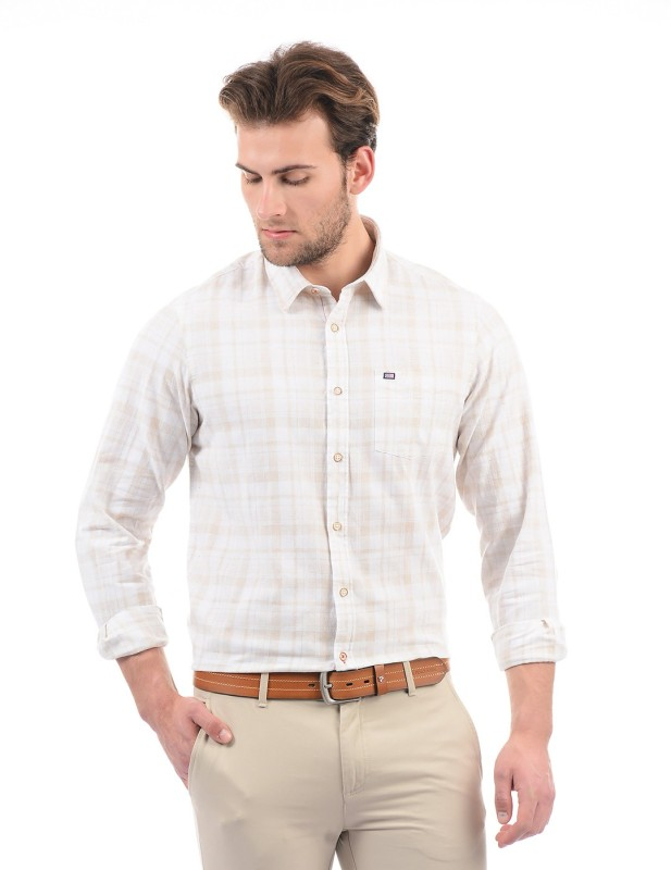 Arrow Sport Men Checkered Casual White Shirt