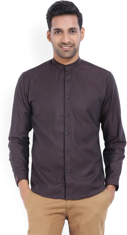 V Dot by Van Heusen Mens Self Design Party Black, Brown Shirt