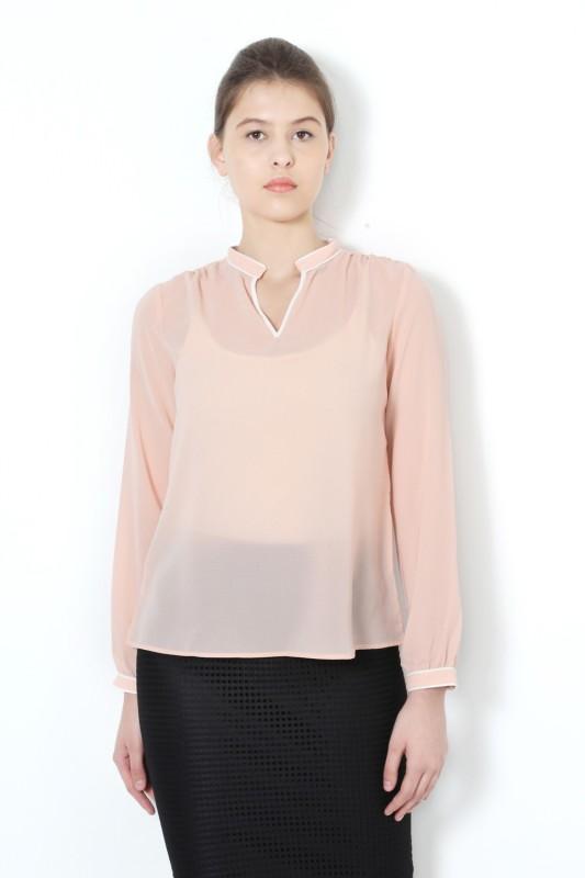 Van Heusen Casual Full Sleeve Solid Women's Orange Top