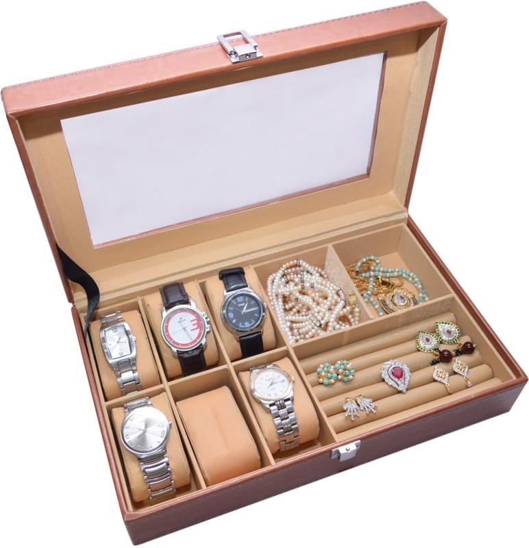 Knott Exclusive Tan watch cum jewellery case Jewellery Case Vanity Box(Tan)