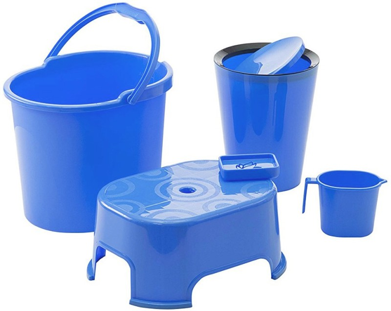 WCSE present Varmora companys ultramorden design Bathroom Accessories 5 Pcs Set Blue (Balti 17.5 ltr, Round Waste Container 8.5 Ltr with Lid, Mug 1 ltr, Soap Dish, Comfort Stool) 27 L Plastic Bucket(Blue)