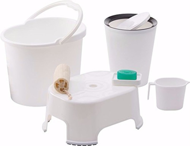 WCSE present Varmora companys ultramorden design Bathroom Accessories 5 Pcs Set White (Balti 17.5 ltr, Round Waste Container 8.5 Ltr with Lid, Mug 1 ltr, Soap Dish, Comfort Stool) 27 L Plastic Bucket(White)