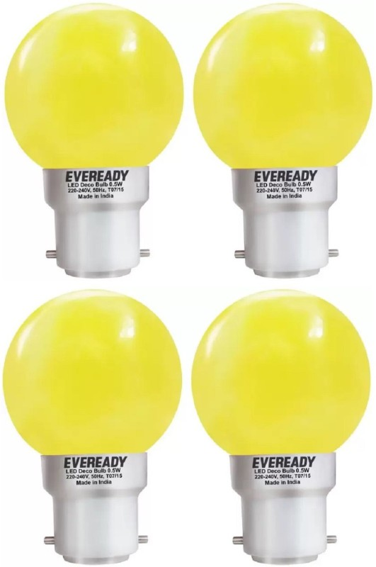 Eveready 0.5 W Standard B22 LED Bulb(Yellow, Pack of 4)