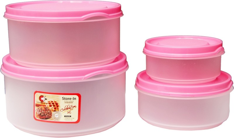 ARISERS Plastic Airtight Storage Box Container With Lid For Refrigerator(Set Of 4) - 3000 ml, 2000 ml, 1200 ml, 600 ml Plastic Grocery Container(Pack of 4, Pink)