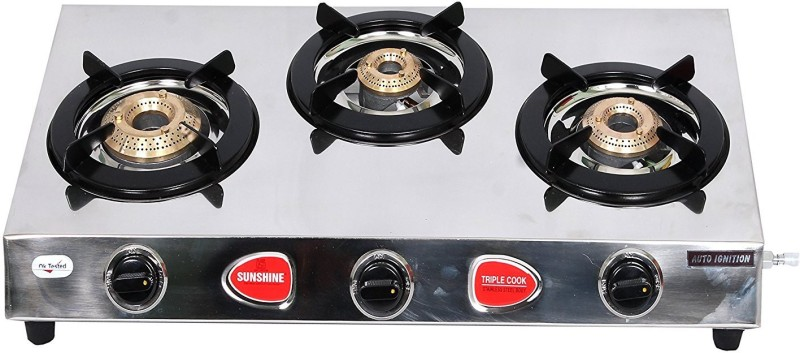 Sunshine Stainless Steel Automatic Gas Stove(3 Burners)