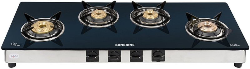 Sunshine Stainless Steel, Glass Manual Gas Stove(4 Burners)