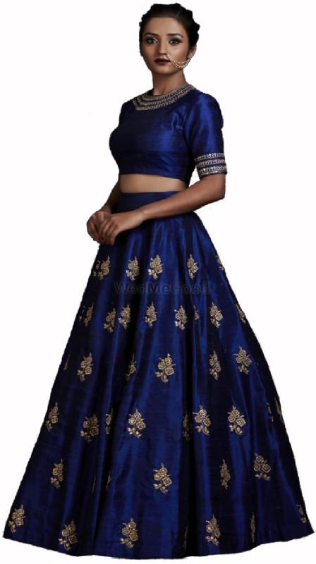 color bucket Embroidered Semi Stitched Lehenga, Choli and Dupatta Set(Dark Blue)