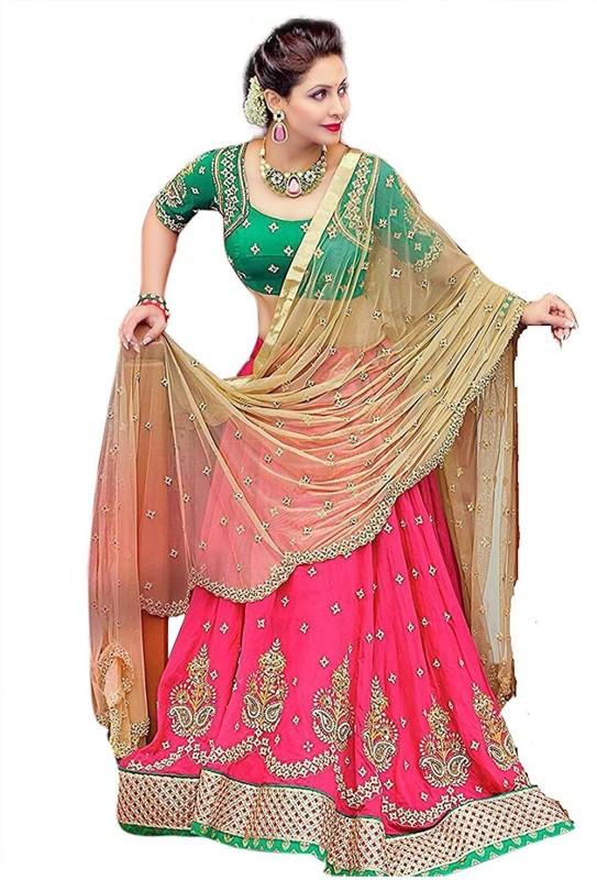 color bucket Embroidered Semi Stitched Lehenga, Choli and Dupatta Set(Pink, Dark Green)