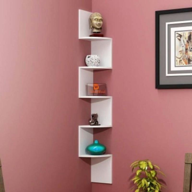 12 stars White wooden wall corner Wooden Wall Shelf(Number of Shelves - 6, White)