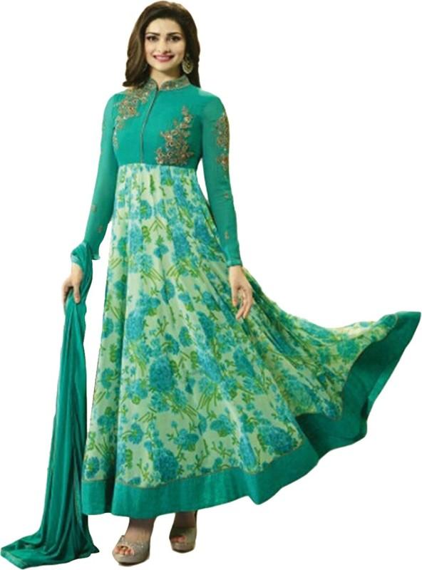 Ap Enterprise Georgette Embroidered Semi-stitched Salwar Suit Dupatta Material