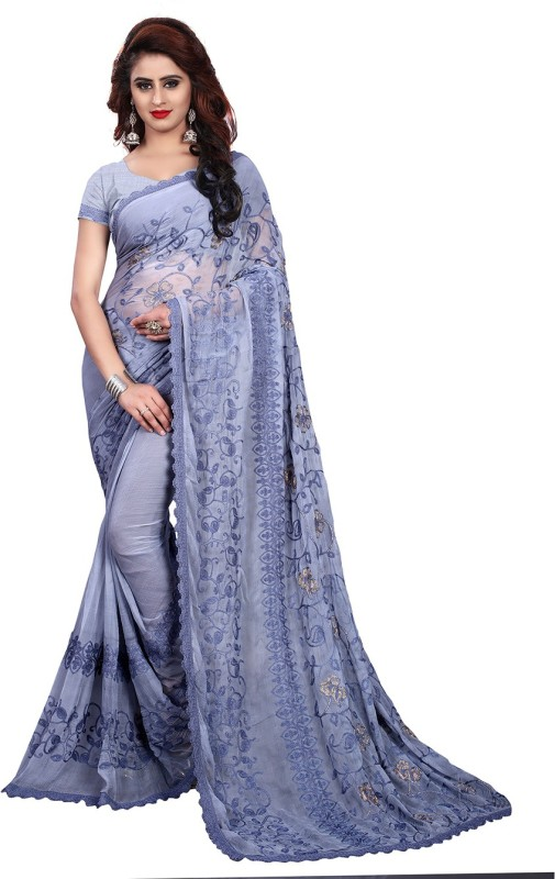 Wama Fashion Embroidered, Self Design Fashion Chiffon Saree(Grey)