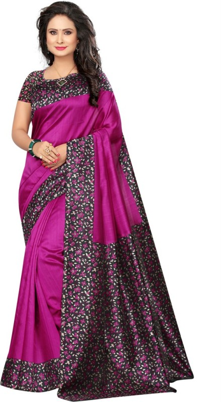 Saara Printed Daily Wear Poly Silk Saree(Pink)