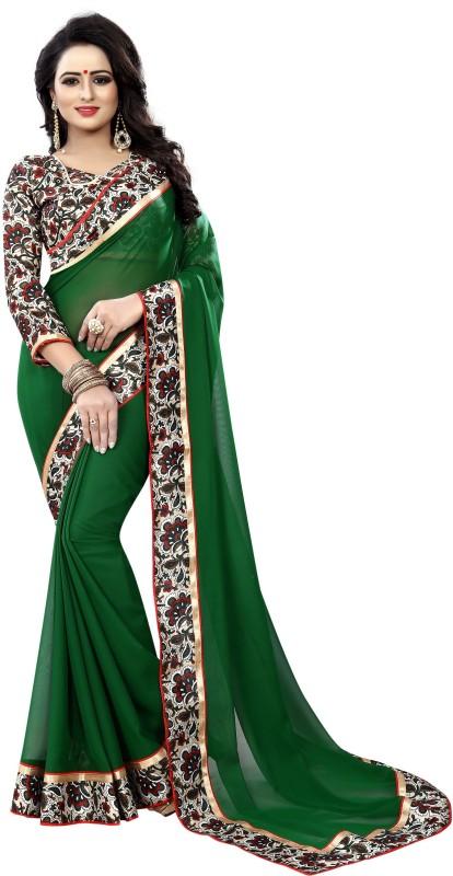HNC Retail Floral Print Kanjivaram Pure Georgette, Chiffon Saree(Green)