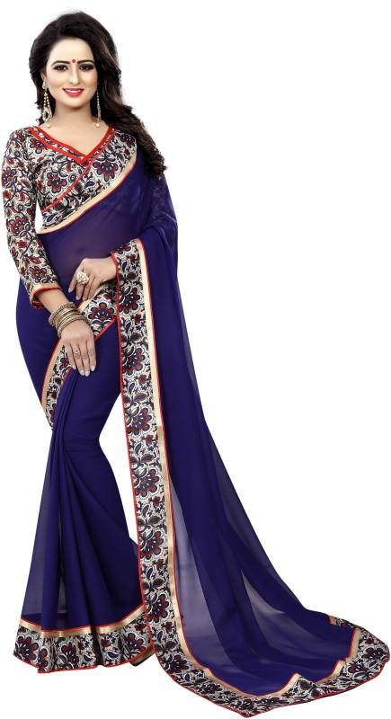 HNC Retail Floral Print Kanjivaram Pure Georgette, Chiffon Saree(Purple)