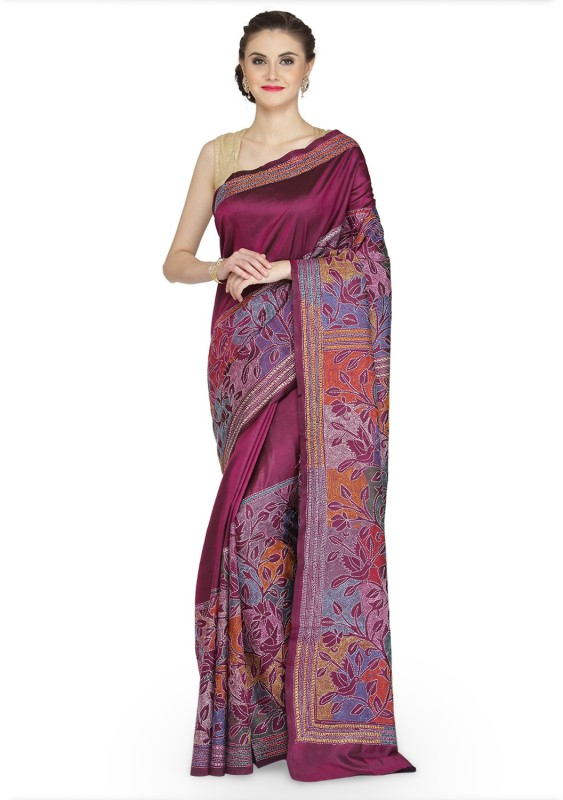 Tanya Printed Kantha Handloom Silk Saree(Multicolor)