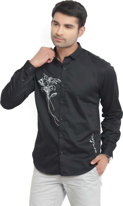 V Dot by Van Heusen Mens Printed Casual Black Shirt