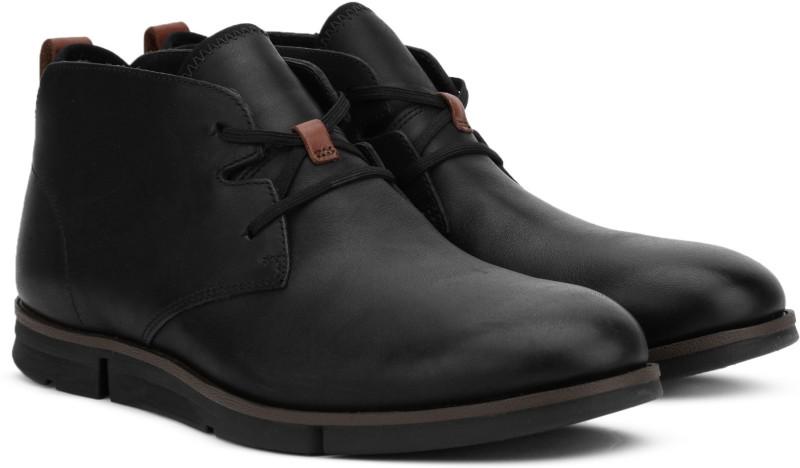 Clarks Trigen Mid Black Leather Boots For Men(Black)