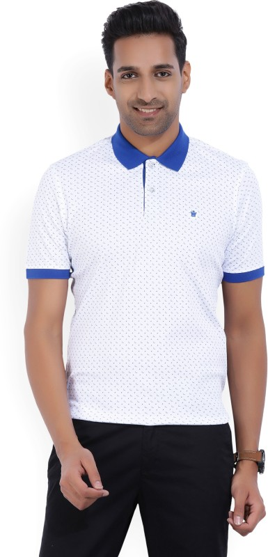 Louis Philippe Printed Mens Polo Neck White, Blue T-Shirt