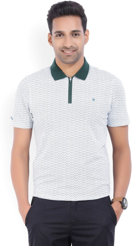 Louis Philippe Printed Mens Polo Neck White, Green T-Shirt