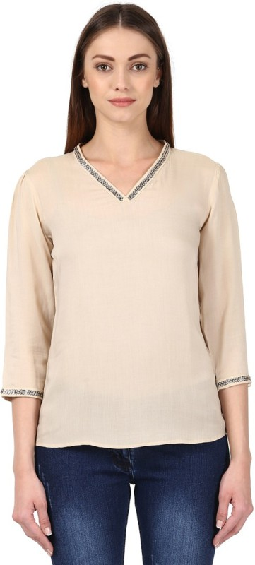 Park Avenue Casual 3/4th Sleeve Solid Womens Beige Top