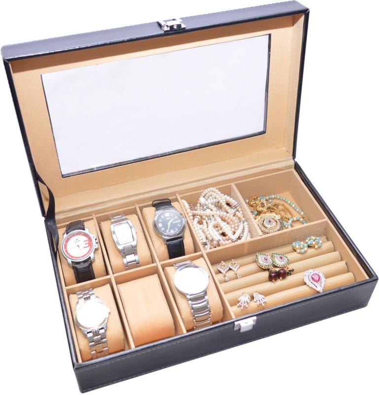 Knott Exclusive Black watch cum jewellery case Jewellery Vanity Box(Black)