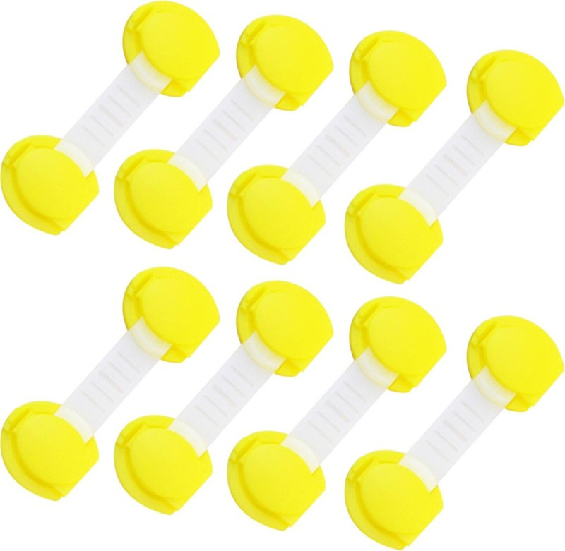 SYGA YellowLiningBabySafetyCabinetLock_8 Pcs Child Safety Latch Lock(Yellow)